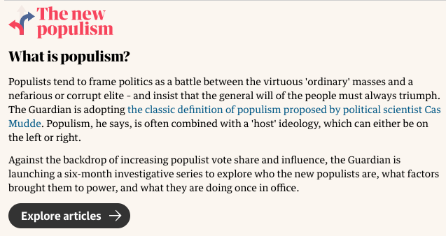Populism Definition The Guardian